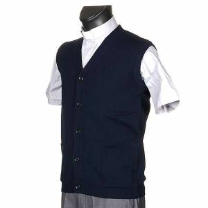Cardigan jackets: Blue waistcoat with buttons and pockets