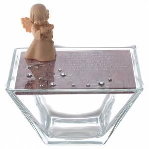 Bonbonnières: Boîte verre rose 10x10 cm ange bois