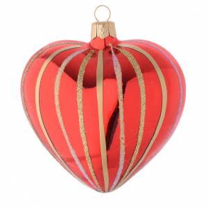 Bolas de Navidad: Bola de Navidad corazón de vidrio soplado rojo y oro 100 mm