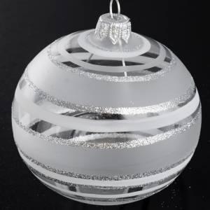 Bolas de Navidad: Bola de Navidad en vidrio soplado transparente en plateado 8 cm