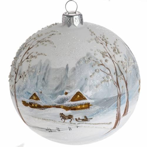 Bola de Navidad vidrio con decoración paisaje con nieve d s1