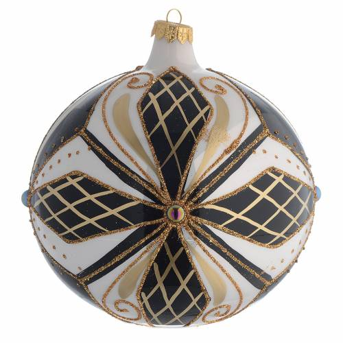 Bola de Navidad vidrio negro, blanco y oro 150 mm s2