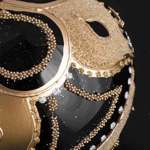 Bola de Navidad vidrio negro decoración dorada de 10 cm s3