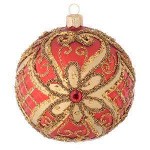 Bola de Navidad vidrio soplado rojo decoraciones en relieve 100 mm s1