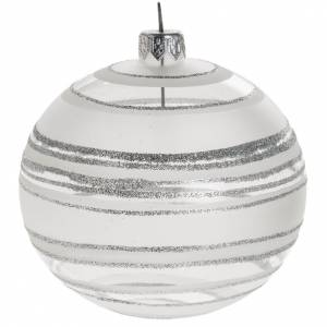 Bolas de Navidad: Bola de Navidad vidrio transparente blanco rayas 10 cm.
