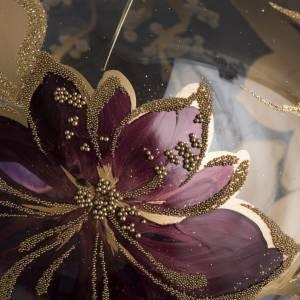 Bola de Navidad vidrio transparente  dorado y viola de 15 cm s3