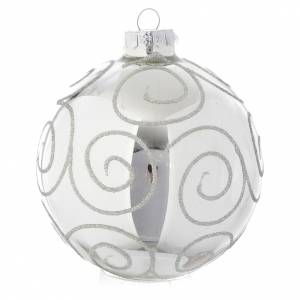 Bolas de Navidad: Bola de vidrio Silver con decoraciones 90 mm para árbol de Navidad