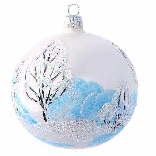 Bola para Árbol de Navidad 100 mm blanco imagen decoupage s2