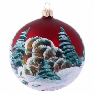 Bola Árbol de Navidad 100 mm burdeos y casitas s2