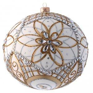 Bolas de Navidad: Bola Árbol de Navidad vidrio soplado blanco, plata y oro 200 mm