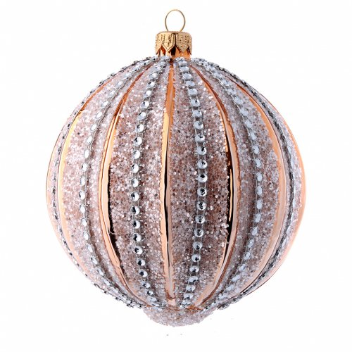 Bolas de vidrio Árbol de Navidad oro y purpurina 100 mm 6 piezas s2