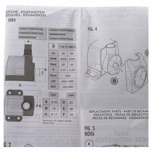 Bomba de Agua Belén 400-1300 litros/horas 25 w modelo IDRA s7