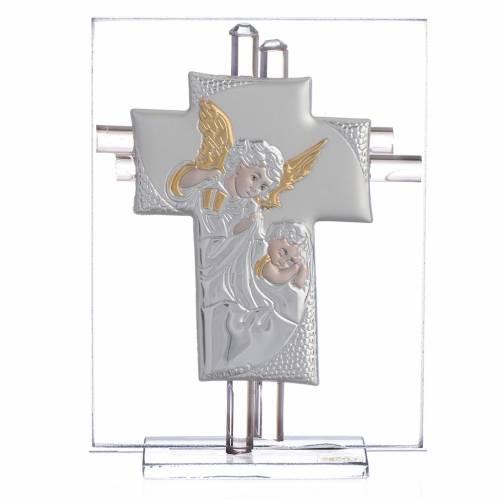 Bomboniera Battesimo Croce vetro Murano rosa h. 10,5 cm s1