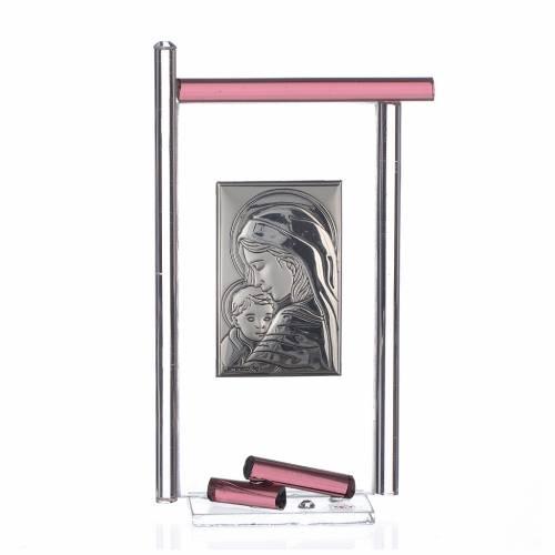 Bomboniera Nascita Arg. e vetro Murano viola 13x8 cm s1