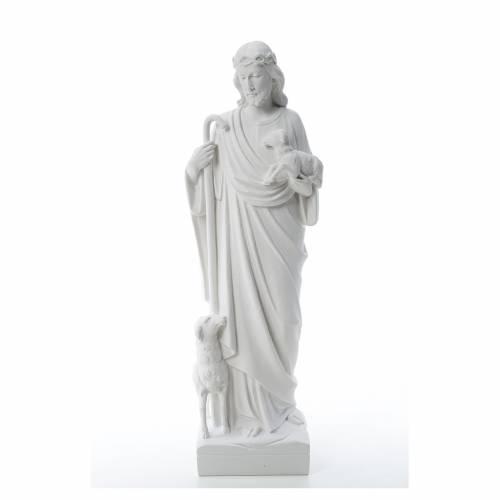 Bon Pasteur avec brebis marbre reconstitué s1