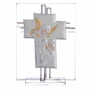 Bonbonnière Baptême croix verre Murano rose h 10,5 cm s1