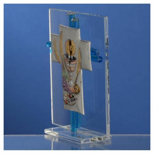Bonbonnière Communion croix verre Murano aigue-marine arg h 10,5 cm s3