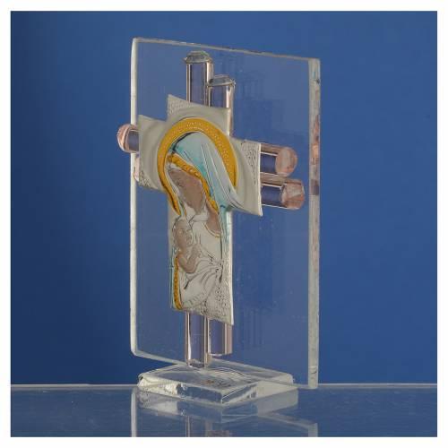 Bonbonnière Maternité croix verre Murano rose arg h 8 cm s3