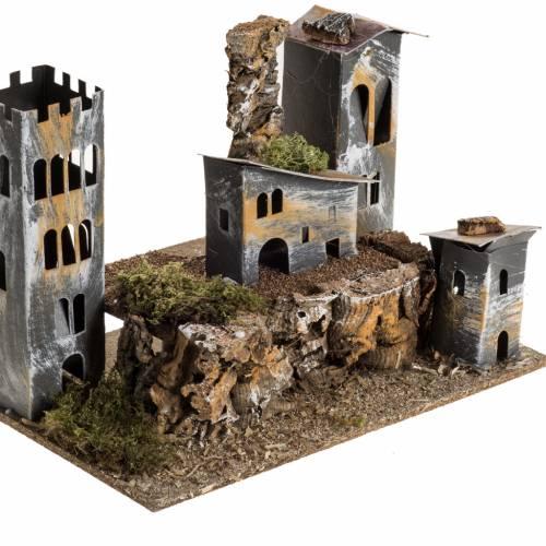 Borgo cartone con torre: ambiente presepe s2