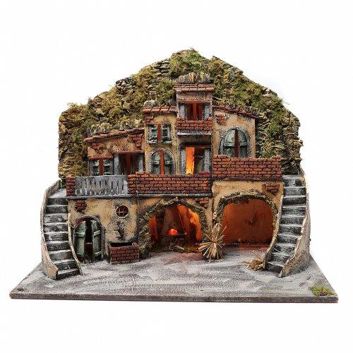 Borgo con fontana e forno illuminato 55X65X40 cm presepe napoletano s1