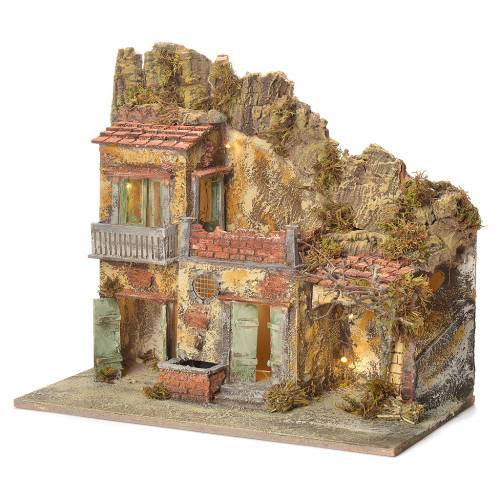 Borgo presepe con fontana 45X50X30 cm s3