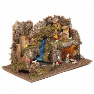 Borgo presepe con fuoco luci con cascata grotta 40x58x38 s2
