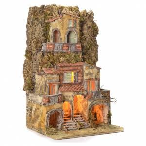 Borgo presepe napoletano 75X45X35 per statue 6/8 cm s2