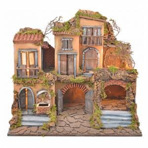Borgo presepe napoletano stile 700 con fontana e luce 53x60x43 s5