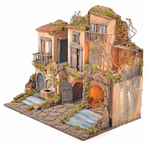 Borgo presepe napoletano stile 700 con fontana e luce 53x60x43 s7
