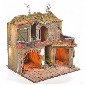 Borgo presepe napoletano stile 700 con luce 45x49x37 s2