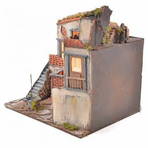 Borgo presepe napoletano stile 700 con pozzo e luce 45x55x38 s3