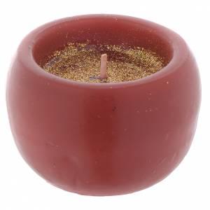 Bougies de Noel: Bougie de Noël lanterne rouge h 4,7 cm