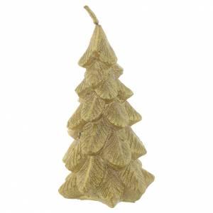 Bougie Sapin de Noël 11 cm dorée s1