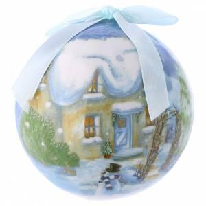 Décorations sapin bois et pvc: Boule avec paysage pour Sapin boîte 75 mm