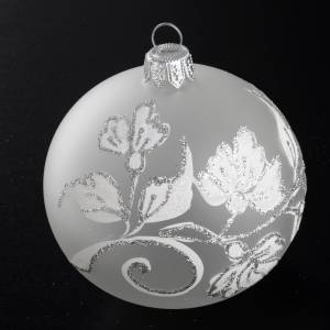Boule de Noel fleurs argentées 8 cm s2