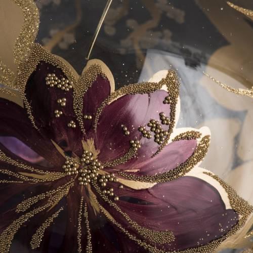 Boule de Noel fleurs fuchsia 15 cm s3
