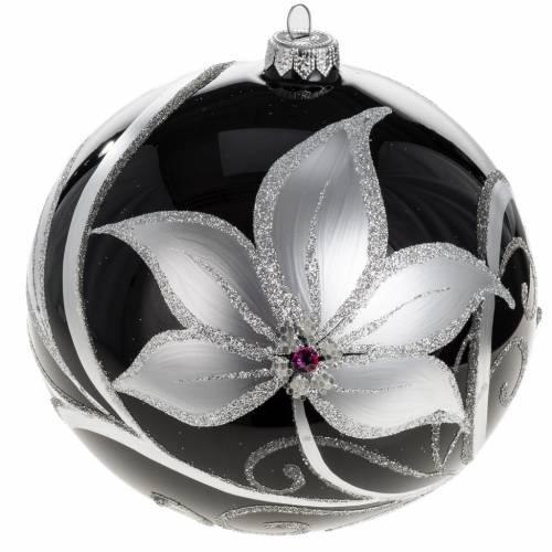 Boule de Noel noire fleurs blancs 15 cm s1