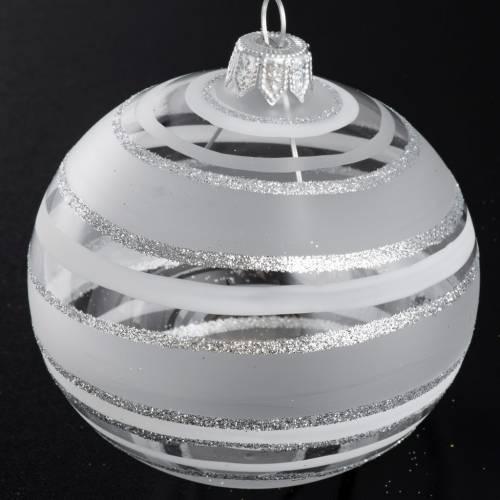 Boule de Noel raies argentées 8 cm s2