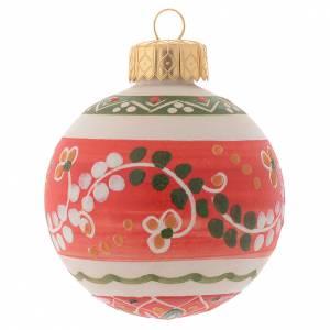 Décorations sapin bois et pvc: Boule de Noël style country terre cuite Deruta 60 mm
