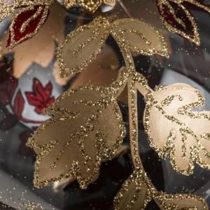 Boule de Noel transparente décorations rouges or 8 cm s4