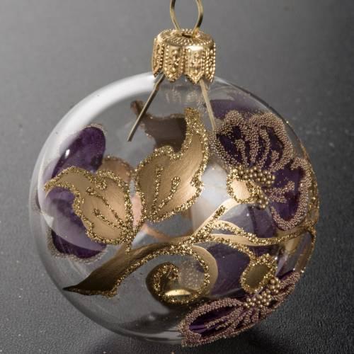 Boule de Noel transparente fleur fuchsia 6 cm s2