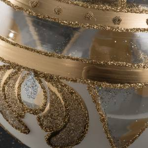 Boule de Noel transparente verre or 10 cm s3