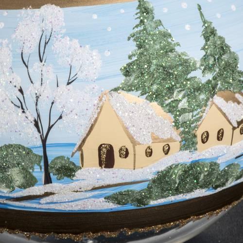 Boule de Noel verre église enneigée 10 cm s4