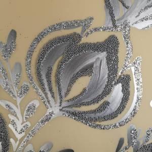 Boule de Noel verre ivoire décor florale 15 cm s4