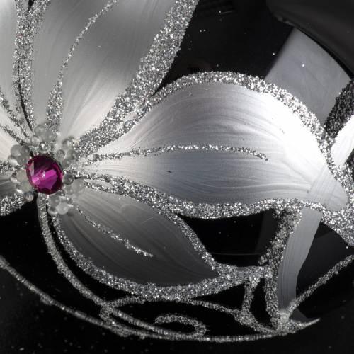 Boule de Noel verre noir peint à la main fleurs 10 cm s4