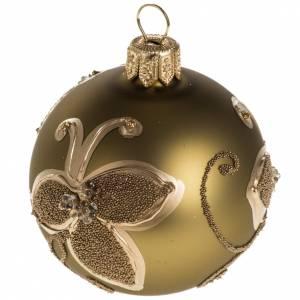 Boule de Noel verre or décorations 6 cm s1