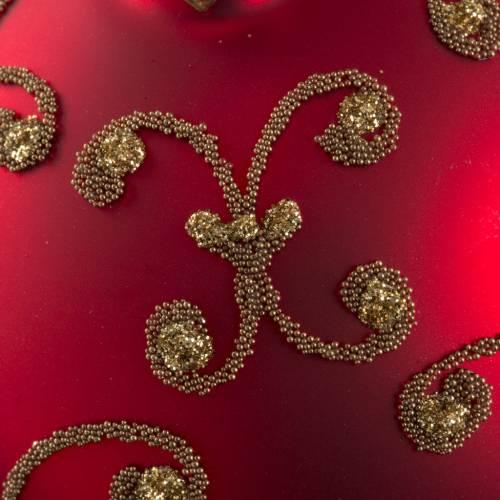 Boule de Noel rouge décors or 8cm s3