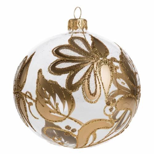 Boule de Noel verre transparent décorée or 10 cm s1