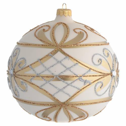 Boule Noël décor crème or fleurs argent 150 mm s2