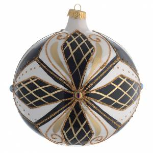 Boule sapin Noël verre noir blanc or 150 mm s2